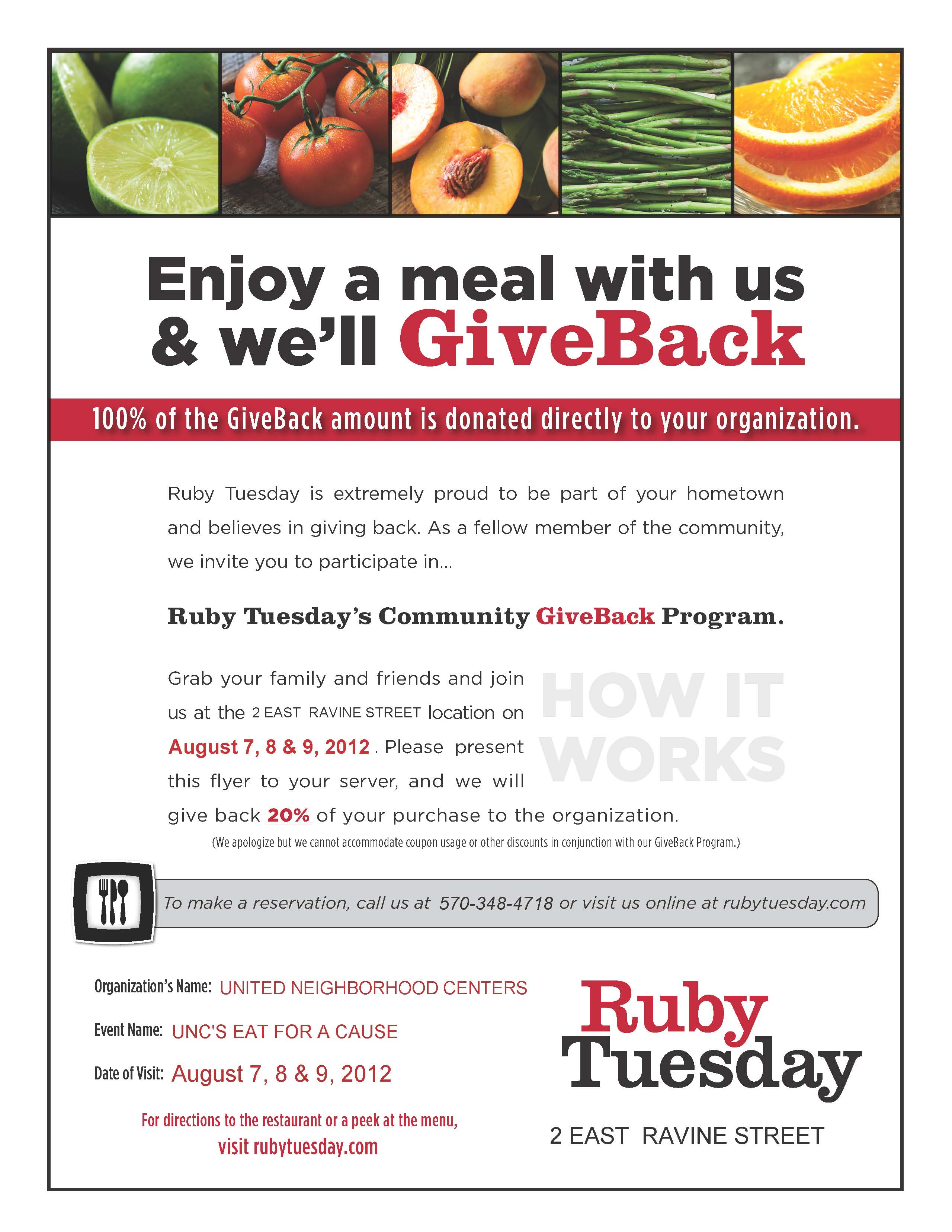 Ruby Tuesday United Neighborhood Centers Of Northeastern
