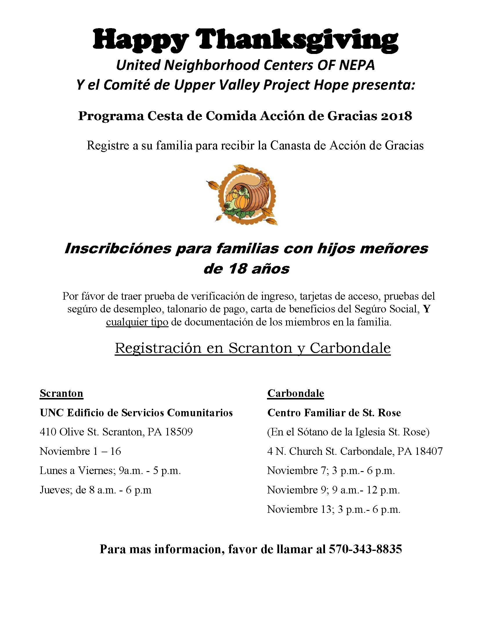 Thanksgiving Program Spanish Flyer 2018 - United Neighborhood